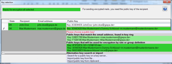 Decide for the right public key with gpg4o