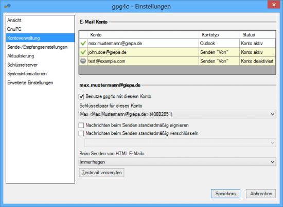 Unterstützung virtueller Outlook-Konten in gpg4o