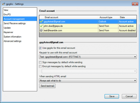 Use the send from field in outlook with gpg4o