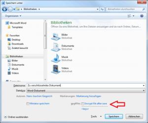 Abbildung 1: Speicherdialog von gpg4files für die Dateiverschlüsselung  aus Windows-Anwendungen heraus