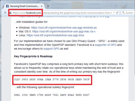 Facebook Webseite mit GPG Public Key und Fingerprint