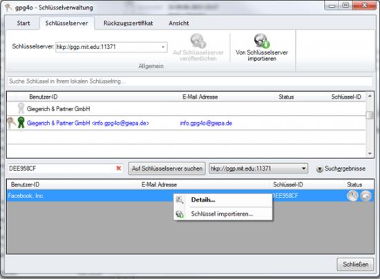 gpg4o Schlüsselverwaltung - Facbeook Public Key importieren