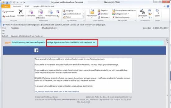 Verschlüsselte Nachricht von Facebook mit Bestätigungslink