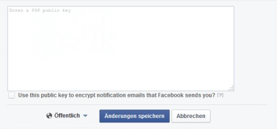 Facebook Eingabefeld für PGP (GnuPG, GPG, OpenPGP) Schlüssel