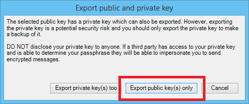 Export Public Key only