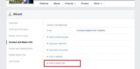 Facebook option: Add a PGP public key