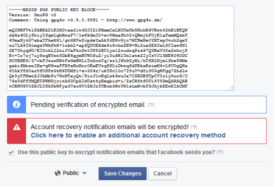 GnuPG Public Key delivered to Facebook awaiting approval