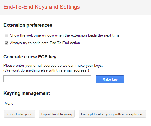 Importdialog: Google Chrome End-To-End Keys and Settings