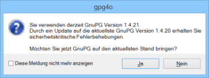 gpg4o Updatemeldung GnuPG