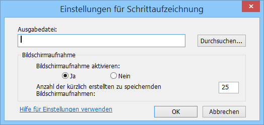 Einstellungsdialog des Microsoft Problem Steps Recorder